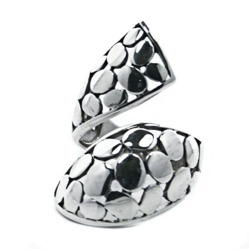 Solid Sterling Silver Adjustable Mosaic Wrap Ring (R011)